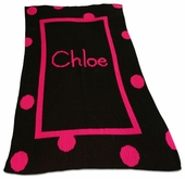Big Polka Dot Border Personalized Blanket