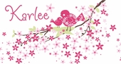 Birds and Blossoms Pink Personalized Canvas Wall Art