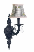 Black Check with Pink Rosebud Shade on 1-Arm Scroll Black Wall Sconce