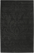Black Damask Sculpture Loomed Rug