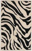 Black Zebra Print Goa Hand-Tufted Rug