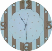 Blue & Brown Cloud Wall Clock