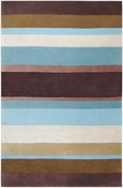 Blue & Brown Stripes Cosmopolitan Hand-Tufted Rug