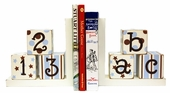 Blue & Chocolate ABC 123 Bookends