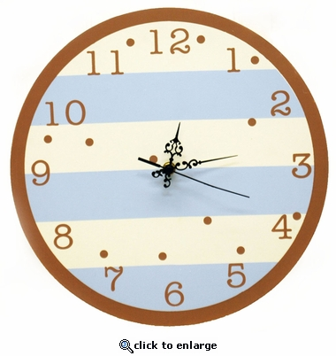 Blue & Chocolate Stripe Wall Clock
