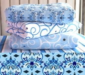 Blue Damask Changing Pad Cover