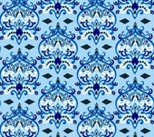 Blue Damask Fabric