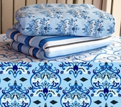 Blue Damask Fitted Crib Sheet
