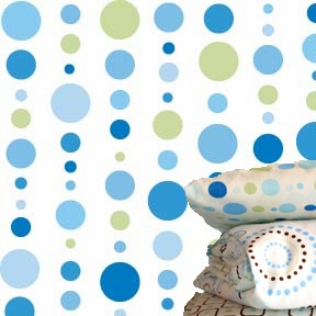 Blue Dot Line Fitted Crib Sheet
