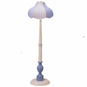 Blue Gingham & Country Stripe Audrey Floor Lamp