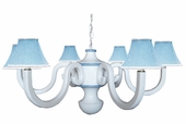 Blue Gingham Six Arm Large Scroll Chandelier