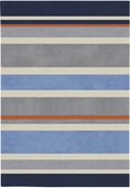 Blue Gray Stripes Chic Hand-Tufted Rug