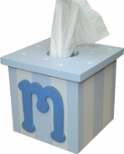 Blue Initial Tissue Box Cover