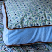 Blue Modern Vintage Square Accent Pillow
