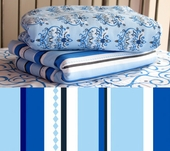 Blue Pinstripe Fitted Crib Sheet