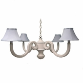 Blue Pique Four Arm Scroll Chandelier