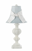 Blue Shade on Large Urn White Lamp