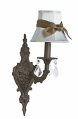 Blue with Brown Sash Shade on 1-Arm Scroll Mocha Wall Sconce