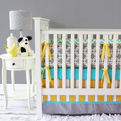 Bright Baby Gray Crib Bedding Set