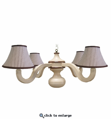 Brown Stripe Four Arm Spindle Chandelier
