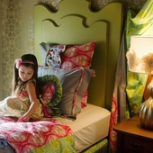 Brynn Whimsical Twin Headboard in Chartreuse Green