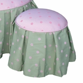 Bubble Gum Pink/Green Child Princess Ottoman