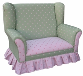 Bubble Gum Pink/Green Child Wingback Loveseat