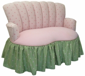 Bubble Gum Pink/Green Velvet Child Princess Loveseat