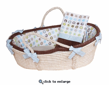 Bubbles Moses Basket & Blanket