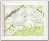 Bunny Blue Diamond Framed Giclee Print