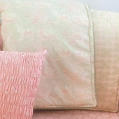 Celery Anouk Puff Blanket with Dusk Trim