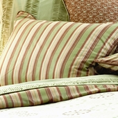 Celery Marcel Pillow Sham in Asparagus Chloe with Honey Herringbone Piping