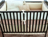 Celery Marcel Plump Crib Bumper with Asparagus Chloe Piping
