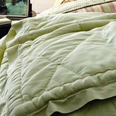 Celery Marcel Quilted Coverlet in Celery Sateen