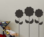 Chalkboard Flower Row Wall Decal
