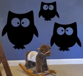 Chalkboard Owls Wall Decal