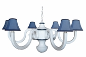 Chambray & Navy Six Arm Large Scroll Chandelier