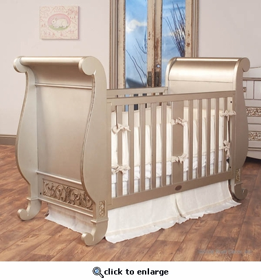 Chelsea Sleigh Crib in Antique Silver