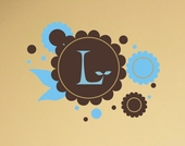 Chocolate Flowers Initial Custom Personalized Wall Decal