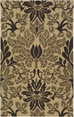 Chocolate & Tan Damask Rain Hand-Hooked Rug