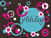 Circles Dots and Flowers Custom Personalized Wall Decal