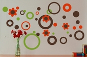 Circles Dots and Flowers Custom Wall Decal