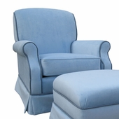 Classic Velvet Blue Adult Club Glider Rocker Chair - Foam or Down