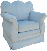 Classic Velvet Blue Adult Empire Glider Rocker Chair - Foam or Down