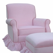 Classic Velvet Pink Adult Club Glider Rocker Chair - Foam or Down