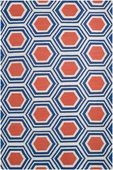 Coral & Blue Hexagon Fallon Hand-Woven Rug