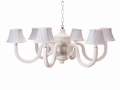 Cottage Stripe Blue Six Arm Bella Chestnut Chandelier