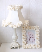 Cream Dupioni Silk & Roses Table Lamp