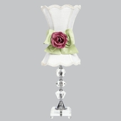 Crystal Medium Lamp with White Scalloped Shade and Dark Pink Rose Magnet