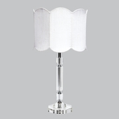 Crystal Slender Lamp with Double Scalloped White Drum Shade